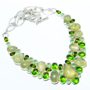 "Prehnite & Peridot 925 Sterling Silver Jewelry Handmade Necklace 17.99"" LAN-50"