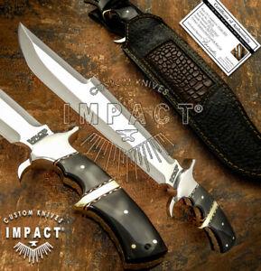 IMPACT CUTLERY RARE CUSTOM D2 FULL TANG PREDATOR BOWIE KNIFE BULL HORN