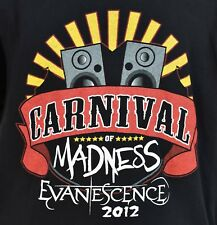 2012 Carnival Of Madness T-Shirt Size Large Evanescence Chevelle Hailstorm Cavo