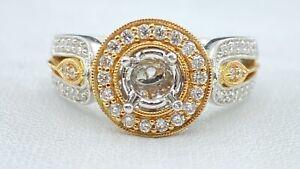 .50 ct DIAMOND halo semi mount engagement ring 18k white rose GOLD (VIDEO)