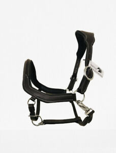 ANATOMICAL LEATHER HEADCOLLAR PADDED COMFORT BLACK BROWN FULL & COB SIZE