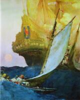 ART BY HOWARD PYLE 1905 ATTACK ON A GALLEON 8X10 ART PRINT 28012005637
