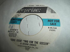 SAMMY DAVIS JR. EX-NM WHITE LABEL PROMO 45   SONG FROM TWO FOR THE SEE-SAW