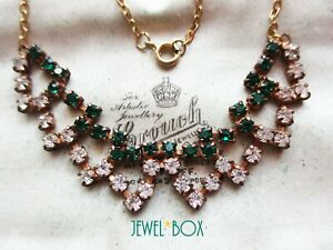 VINTAGE ART DECO Emerald Clear Paste CRYSTAL RHINESTONE NECKLACE Bridgerton Gift