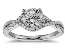 2.25 CT ROUND CUT DIAMOND SOLITAIRE ENGAGEMENT INFINITY RING 14K WHITE GOLD OVER