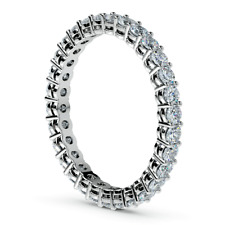 Eternity Diamond Band 1 Carat Round Cut H/SI1 Anniversary Ring 14K White Gold
