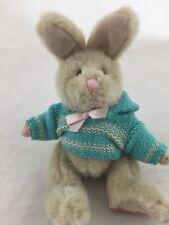 "Happy Heart Bunnies Russ Bunny Rabbit Plush Green Sweater Easter 7"" Stuffed Toy"