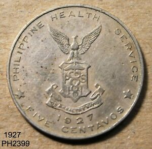 PHILIPPINES Culion Leper Colony 5 CENTAVOS 1927 Free Shipping in UNITED STATES