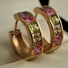 18ct Gold Filled Multi Colour CZ Crystal Half Band Huggie Hoop Earrings 17mm 375