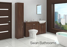 TOBACCO WALNUT BATHROOM FITTED FURNITURE WITH TALL UNIT 2000MM