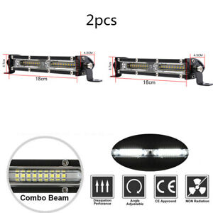 2x 7inch 90w LED Light Bar Work Flood Spot 7000K For Offroad Truck ATV SUV 4WD