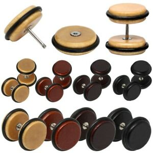 1 Pair of Round Fakeplug Wooden Earring Wood Timber Fake Piercing Tunnel Nature
