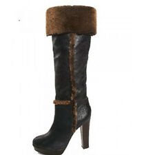 NEW TORY BURCH SHOES BOOTS WOMEN SHERLING FUR LEATHER GRAY BROWN SUEDE  7