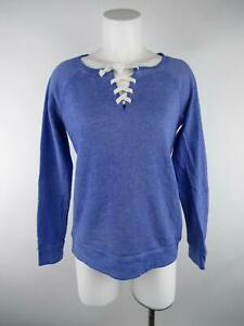 So Women's sz S Blue Cotton Blend Perfect Crew Heather Lace Up Sweatshirt