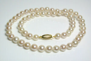 Vintage 6.3-6.8mm Akoya cultured pearl & 9 carat gold necklace
