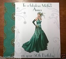 Ladies Handmade Personalised Birthday Card 70th 80th Nanna Sister Art Deco