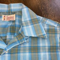 Vtg 50s 60s TOWNCRAFT Penneys Shirt Penn Prest Midcentury Loop Collar MENS SMALL