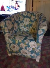 Tub Chair Clarke And Clarke Blue Floral Fabric Laura Ashley Painted Legs