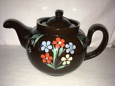alb alcock, lindley, and bloore england staffordshire brown flowers teapot