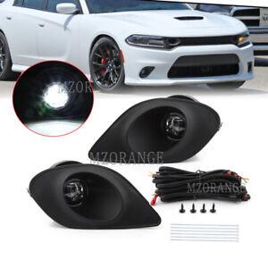 LED Fog Light Lamp For Dodge 15-19 Charger SRT Bezel Wiring Hellcat Accessories