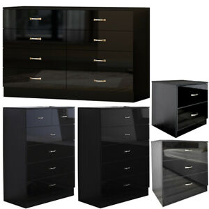 2/3/5/6/8 Drawer Modern Glossy Black Chest of Drawers/ Bedside Cabinet