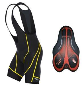 ProAthletica Men's Cycling 3D Anti Shock Gel Padded Bib Shorts (Yellow Stitch)
