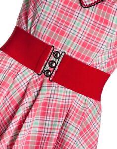 HELL BUNNY Retro 50s Waist BELT Rockabilly Elasticated RED All Sizes