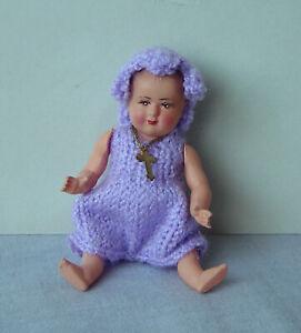 ancien poupon poupée PETITCOLLIN CELLULOÏD Bébé Mauve Vintage DOLL