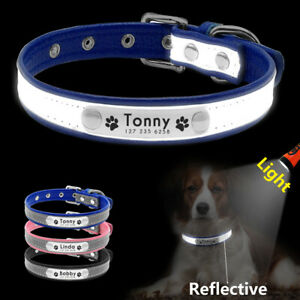 Personalised Reflective Dog Collar with Nama Plate Engraved Pink Blue Black XS-M