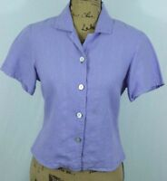 FLAX by Jeanne Engelhart 100% Linen Shirt Petite Small Lavender / Purple Top