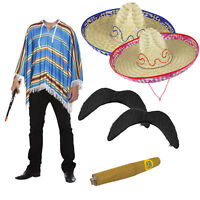 Mens Mexican Poncho Costume: Sombrero Moustache Cigar Fancy Dress Stag Party