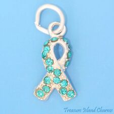 OVARIAN CANCER AWARENESS RIBBON 925 Sterling Silver Charm TEAL SWAROVSKI CRYSTAL