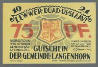 Notgeld -  Langenhorn - Gemeinde Langenhorn - 75 Pfennig - 1921