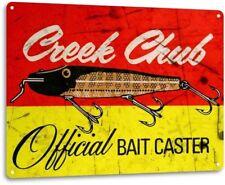 Creek Chub Bait Caster Vintage Rustic Retro Metal Sign