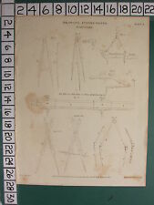 1811 DATED ANTIQUE PRINT ~ DRAWING INSTRUMENTS COMPASSES ~
