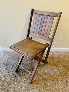 Vintage Wood Slat Folding Stadium Auditorium Chair With Leather Padding