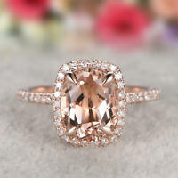 Delicated  3Ct Cushion Cut Morganite Halo Engagement Ring 14K Rose Gold Finish