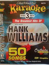 CHARTBUSTER KARAOKE CDG  HANK WILLIAMS (5075)  3 DISC BOX SET  50 TRACKS   NEW
