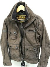 Mens Superdry Limited Waxed Cotton Style Motorcycle Jacket Biker Coat Sz Small