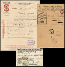 FRANCE 1935, SINGER SEWING MACHINE COVER WITH LETTER INSIDE + RECEIPT DOC  #A89