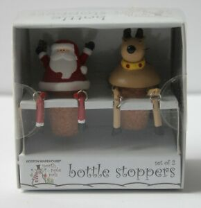 "North Pole Pals ""Santa and Reindeer"" Decorative Bottle Stopper Set  (New)"