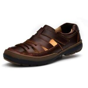 Mens Beach Fisherman Closed Toe Breathable Genuien Leather Sandals Casual Shoes
