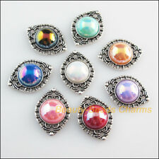 8 New Charms Mixed Acrylic Flatback Eye Connectors Tibetan Silver Tone 15x20mm
