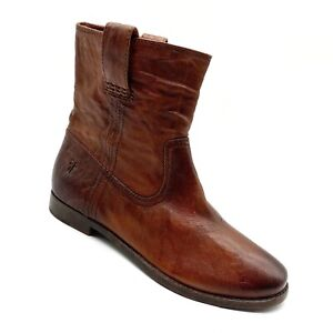 FRYE Cognac Brown Leather ANNA SHORTIE Boots Size - 7.5.