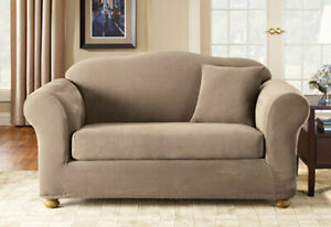 Sure Fit Pique 2pc Sofa Slipcover Box Seat Cushion in Taupe