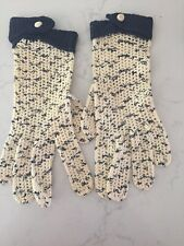 Vintage Falbala Crocheted Women's Gloves made in France Wrist High - Navy Blue
