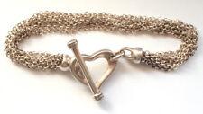 Stunning 925 Solid Sterling Silver Heart Multi Chain Strand Bracelet Vintage