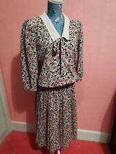 Vintage 80s Pleated Dress. Berkertex. Size 14. Floral Bold Print. Retro. Tea sun