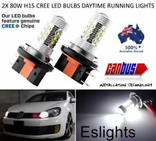 2X  80W H15 CREE LED BULBS DAYTIME RUNNING LIGHTS AUDI BMW MERCEDES CANBUS