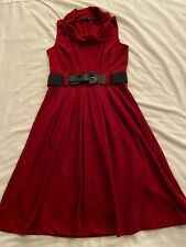 Maurices Small Red Sleeveless Dress With Black Belt, Polyester/Rayon/Spandex